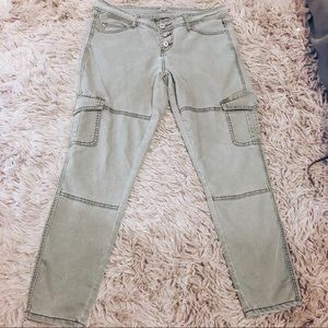 High Waisted Army Green Skinny Cargo Jeans, 11